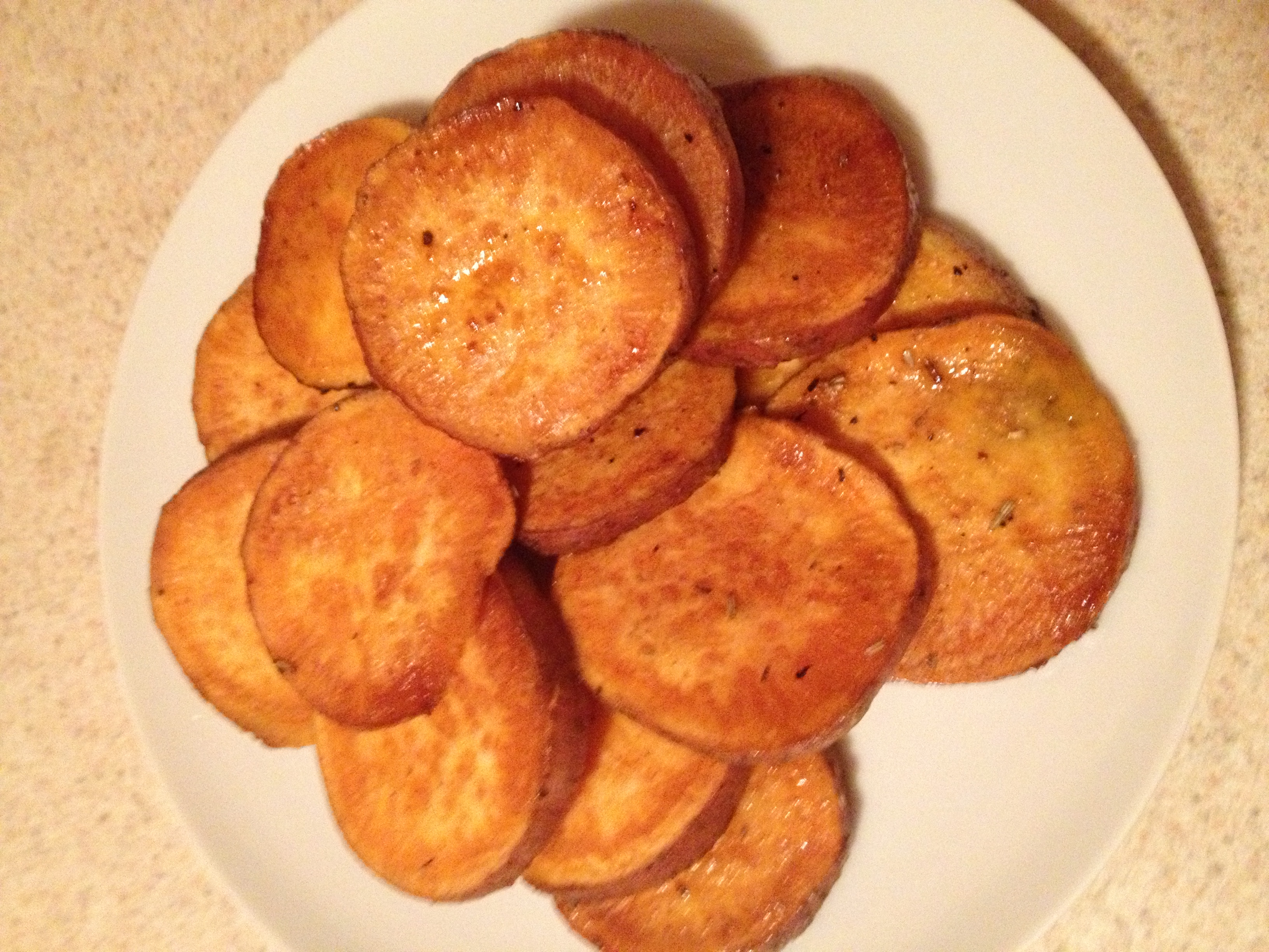 Spicy Roasted Sweet Potato Rounds
